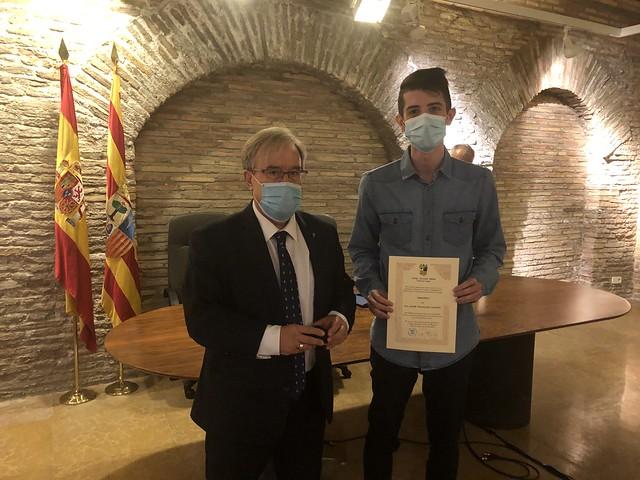Reconocimiento a Jaime Magallón, becario de la Institución 2019-2020
