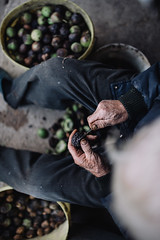 Old man sitting between two buckets full of walnuts. Top view.