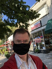 Paul in mask outside Cut 'n Edge Barber Shop, Connecticut Avenue NW, Washington, D.C.