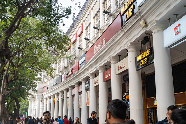 New Delhi, India - December 15, 2019:  Crowds of people at Connaught Place, a shopping and restaurant complex with Western stores and entertainment