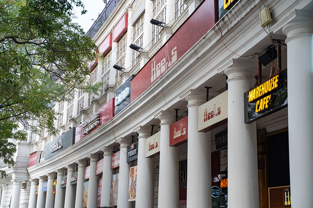 New Delhi, India - December 15, 2019:   Connaught Place, a shopping and restaurant complex with Western stores and entertainment