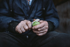 Close up of an old man peeling the walnut skin with a knife.