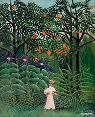 Woman Walking in an Exotic Forest (Femme se promenant dans une forêt exotique) (1905) by Henri Rousseau. Original from Barnes Foundation. Digitally enhanced by rawpixel.