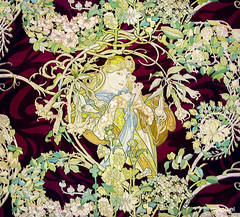 """Panel Entitled """"Femme à marguerite"""" or Woman with Daisy (ca. 1898 or 1900) by Alphonse Maria Mucha. Original from The Art Institute of Chicago. Digitally enhanced by rawpixel."""