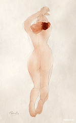 Naked woman showing off her bum, vintage nude illustration. Caresse: moi danc, chéri by Auguste Rodin. Original from The Cleveland Museum of Art. Digitally enhanced by rawpixel.