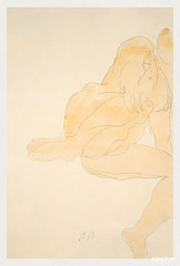 Naked woman spreading her legs, vintage nude illustration. Nude Sitting, Knee Raised by Auguste Rodin. Original from Yale University Art Gallery. Digitally enhanced by rawpixel.