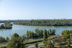 Confluence of Danube ana Sava rivers at Kalemgdan fort in Belgrade