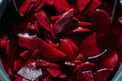 Preparing pickled beetroots. Close up