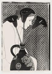 Vrouwelijk naakt achter vaas met aronskelken (1912) by Samuel Jessurun de Mesquita. Original from The Rijksmuseum. Digitally enhanced by rawpixel.