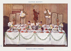 A Supper Buffet for Ball or Reception from Mrs. Beeton's Book of Household Management. Digitally enhanced from our own 1923 edition.
