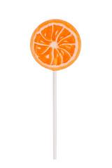 Orange lollipop on white background