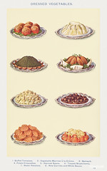 Vegetables II: Stuffed Tomatoes, Vegetable, Marrow à la Creme, Spinach, Potato Croquettes, Haricot Beans, Tossed Mushrooms, Wafer Potatoes, and New Carrots with White Sauce from Mrs. Beeton's Book of Household Management. Digitally enhanced from our o