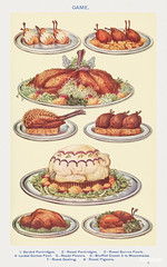 Game: Barded Partridges, Roast Partridges, Surrey Fowls, Roast Plovers, Stuffed Capon à la Mayonnaise, Roast Gosling, and Roast Pigeons from Mrs. Beeton's Book of Household Management. Digitally enhanced from our own 1923 edition.