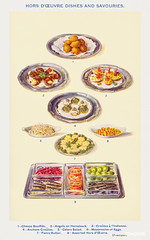 Hors d'oeuvres dishes and savouries from Mrs. Beeton's Book of Household Management. Digitally enhanced from our own 1923 edition.