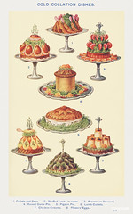 Cold Collation Dishes: Cutlets and Peas, Stuffed Larks in Cases, Prawns en Bouquet, Raised Game Pie, Pigeon Pie, Lamb Cutlets, Chicken Creams, and Plover's Eggs from Mrs. Beeton's Book of Household Management. Digitally enhanced from our own 1923