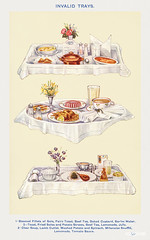 Invalid Trays: Steamed Fillets of Sole, Fairy Toast, Beef Tea, Baked Custard, Barley Water and etc. from Mrs. Beeton's Book of Household Management. Digitally enhanced from our own 1923 edition.