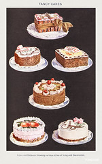 Fancy Cakes: Cakes and Gâteaux showing various styles of Icing and Decoration from Mrs. Beeton's Book of Household Management. Digitally enhanced from our own 1923 edition.