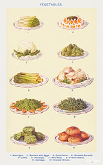 Vegetables : Asparagus, Spinach with Eggs, Cauliflower, Brussels Sprouts, Leeks, Parsnips, New Peas, French Beans, Cabbage, and Braised Onions from Mrs. Beeton's Book of Household Management. Digitally enhanced from our own 1923 edition.