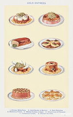 Cold Entrée: Chicken Médaillons, Cold Border of Salmon, Beef Galantine, Zephires of Duck, Mutton Cutlets in Aspic, Chartreuse of Pheasant, Timbale of Turbot, and Chicken Darioles from Mrs. Beeton's Book of Household Management. Digitally enhanced from