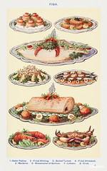 Fish III: Oyster Patties, Boiled Turbot, Fried Whitebait, Mackerel, Mayonnaise of Salmon, Lobster, and Crab from Mrs. Beeton's Book of Household Management. Digitally enhanced from our own 1923 edition.