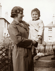 A very young me with my nana. About 1956