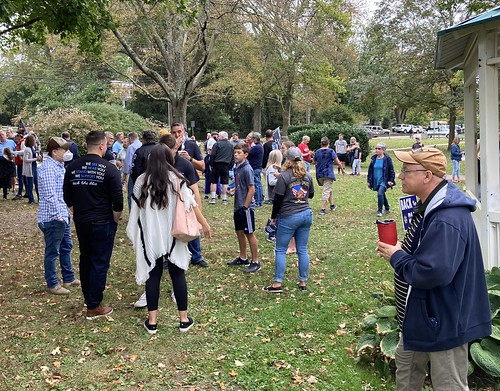 Back the Blue rally  attendees in Springfield Township socialize