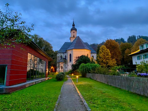Church of the Holy Cross at dawn in Kiefersfelden in Bavaria, Germany