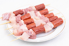 Kebabs with raw Chicken and Pork Meat