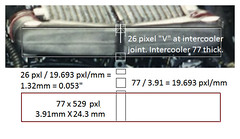 911 GT1 Intercoolers collectors separation - mm dimensions are 1/24 model part measurements!