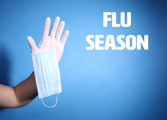 Man hand with Latex gloves holding a surgical mask  and text Flu Season on blue background and copy space