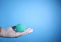 Coronavirus on the palm of a hand with surgical gloves on blue background with copy space