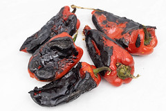 Grilled Red Paprika prepared for salad on the white background
