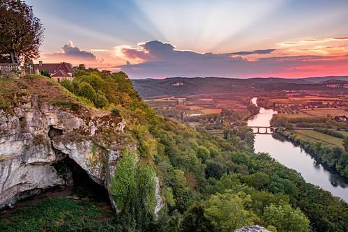 Sunset in Domme Village, Dordogne, France.