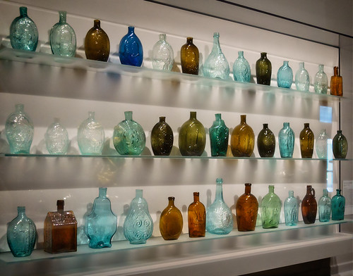 Many glass bottles