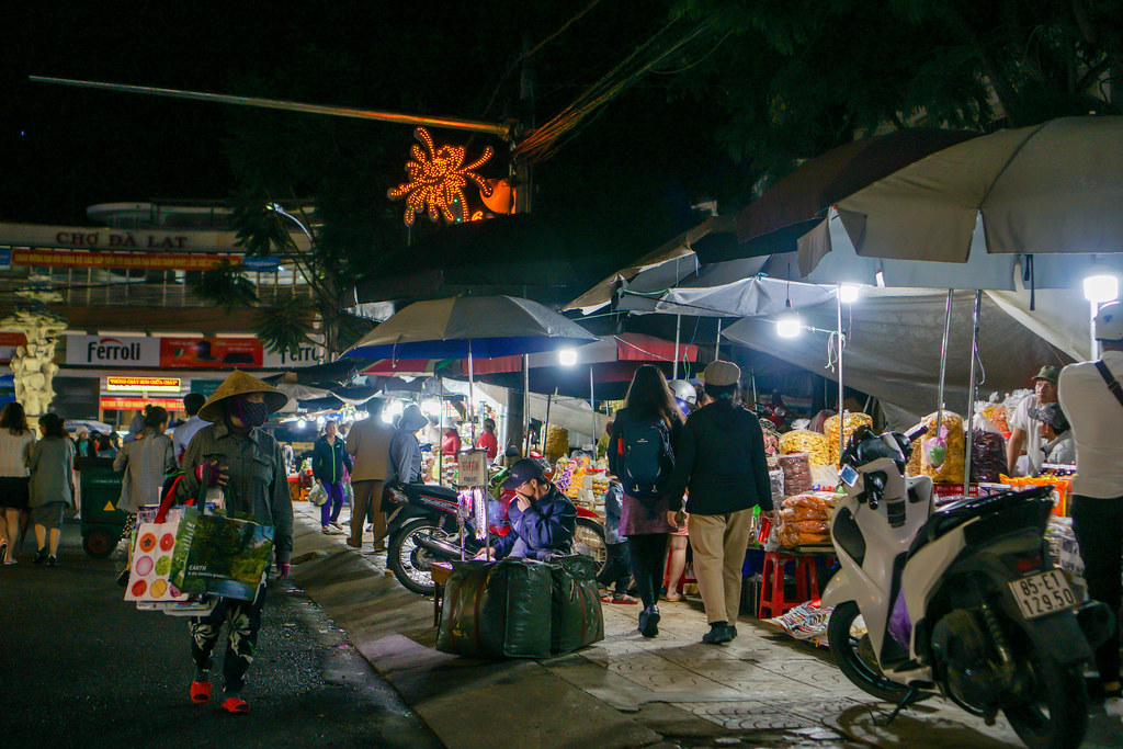 Many Shops selling different Items on the Street at the Night Market in Dalat, Vietnam