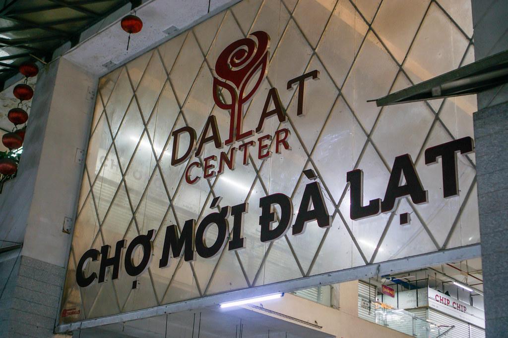 Entrance Board of the New Dalat Market, Vietnam
