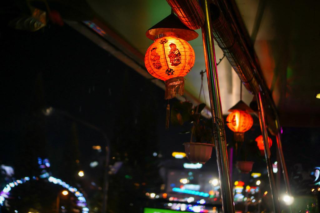 Red Decoration Lanterns hanging at a Cafe in Dalat, Vietnam