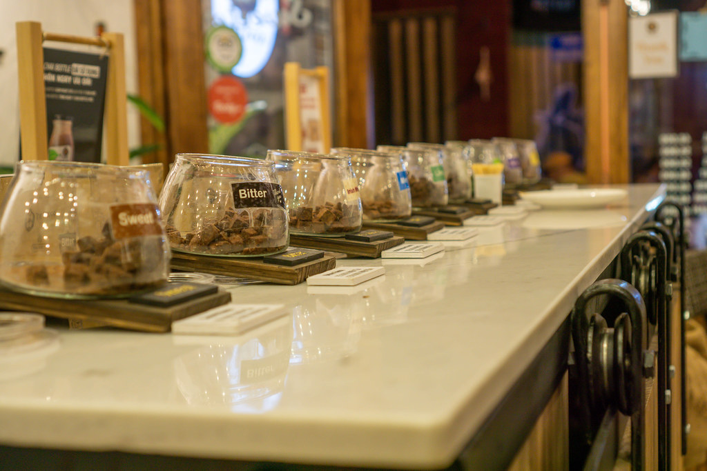 Tester Bowls with different kinds of Chocolate in a Coffee Shop in Dalat, Vietnam