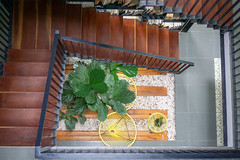 Top View Photo of Wooden Staircase with cozy Seating Area