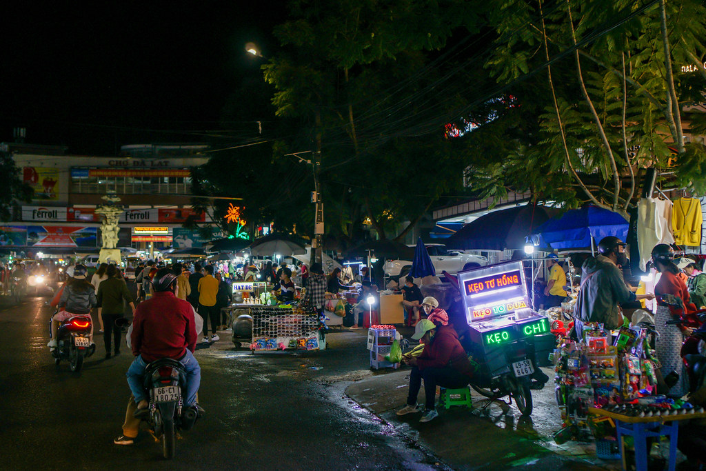 Street Food Carts and Stores lining up at the Night Market in Dalat, Vietnam