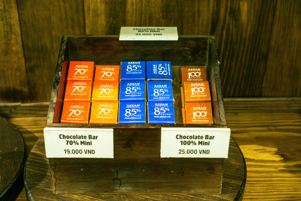 Mini Dark Chocolate Bars with different Levels of Cacao for Sale at a Cafe in Dalat, Vietnam