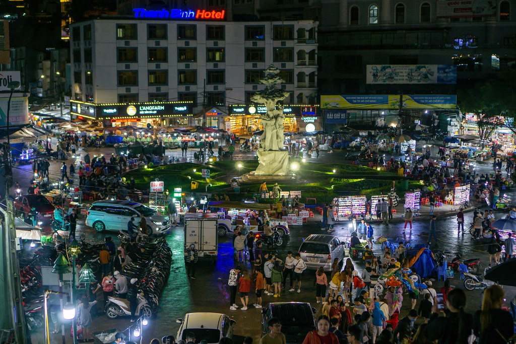 Overview of the Night Market in Dalat, Vietnam