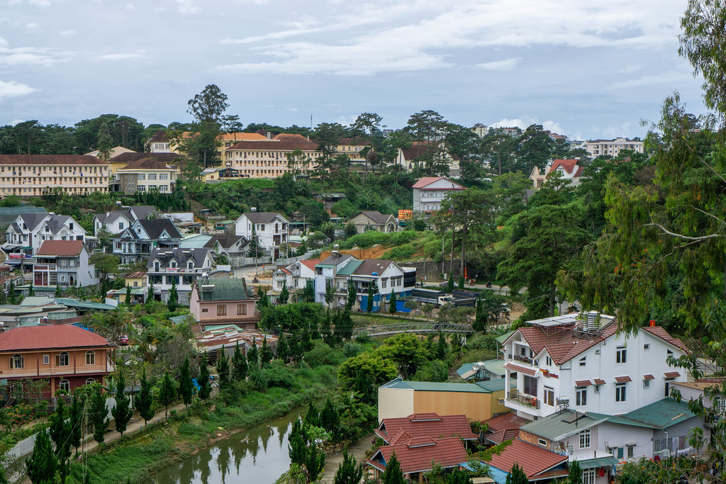 View of Residential Area and River in Dalat, Vietnam