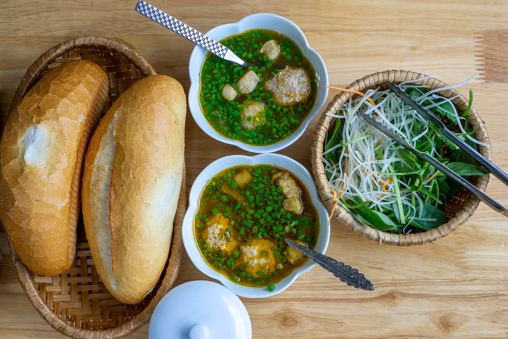 Top View Food Photo of Vietnamese Dish Banh Mi Xiu Mai