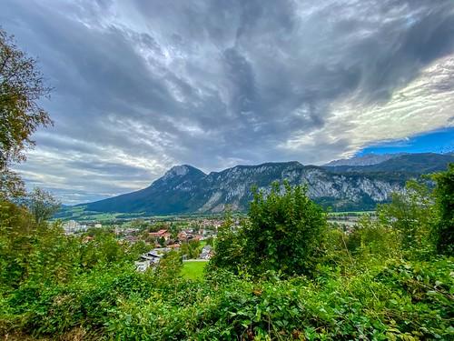 River Inn valley and Zahmer Kaiser mountain range seen from Kiefersfelden in Bavaria, Germany