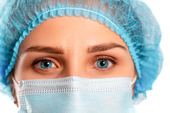 Close-up of a girl in a medical mask