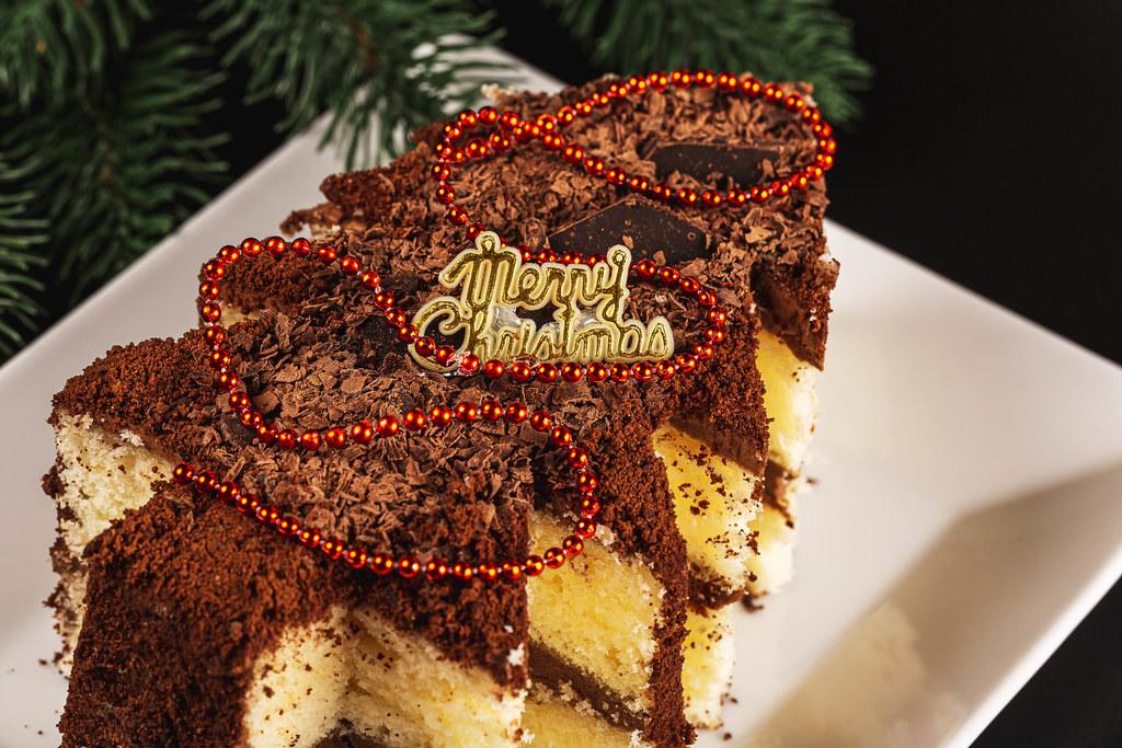 Close-up, chocolate Christmas cake tree