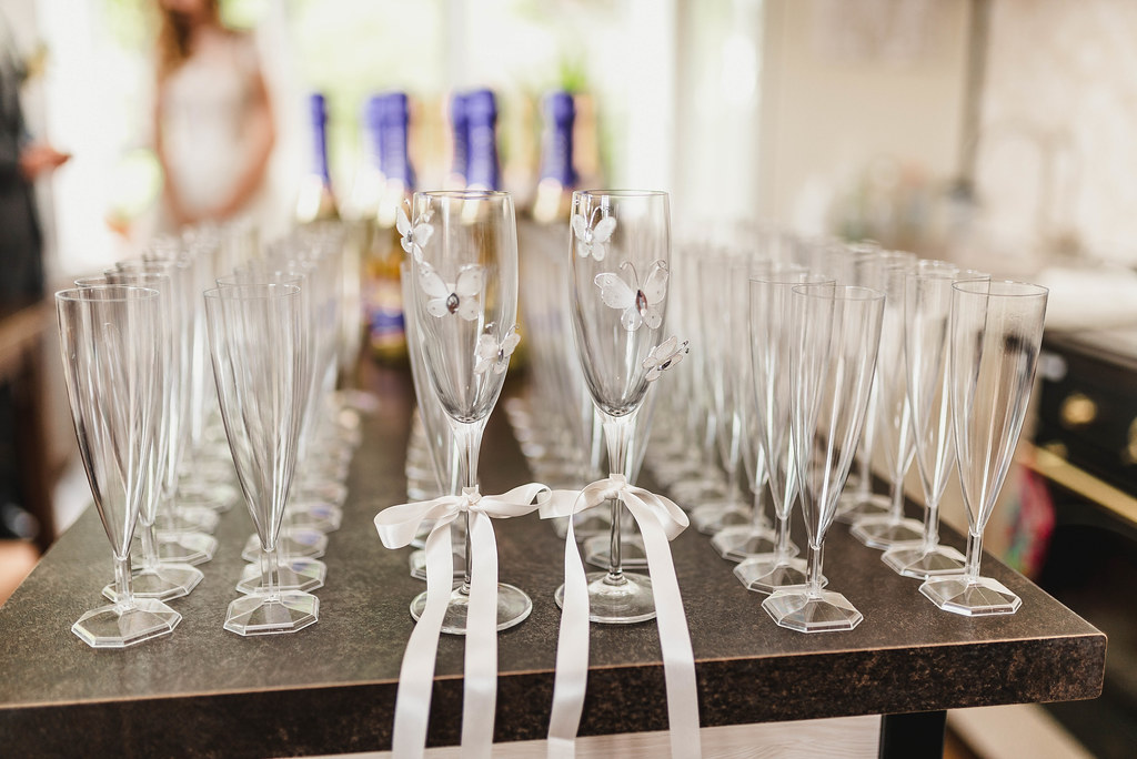 Champagne Glases On Wedding Table