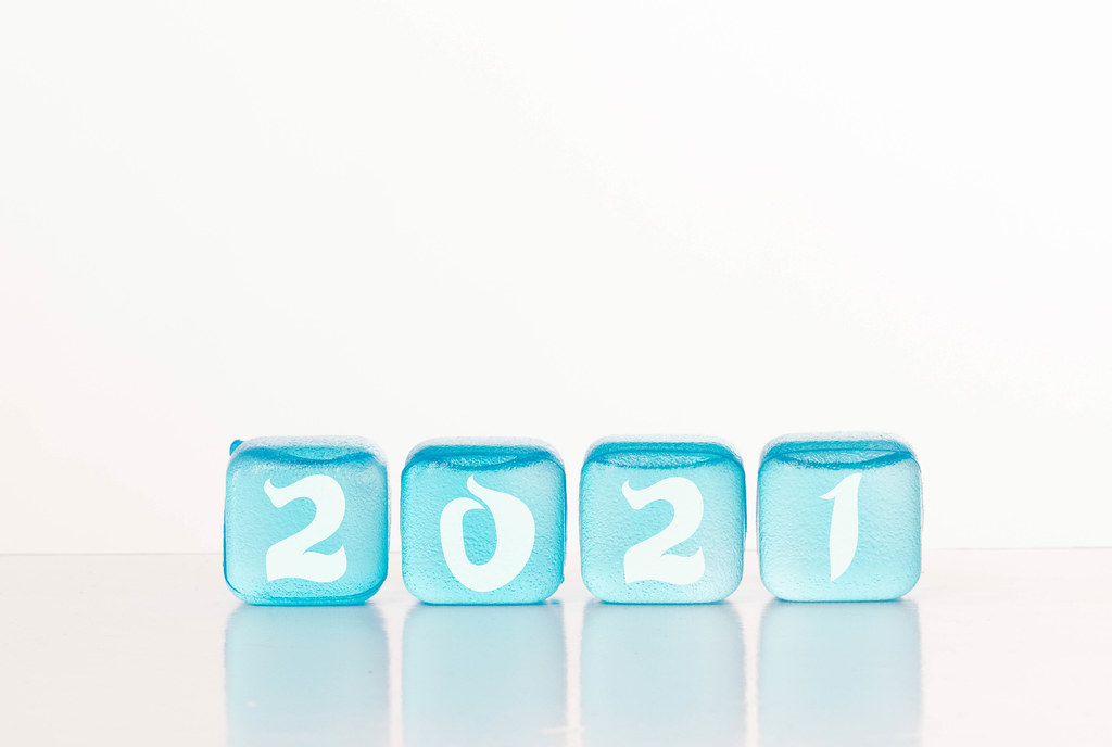 Blue ice cubes with 2021 text