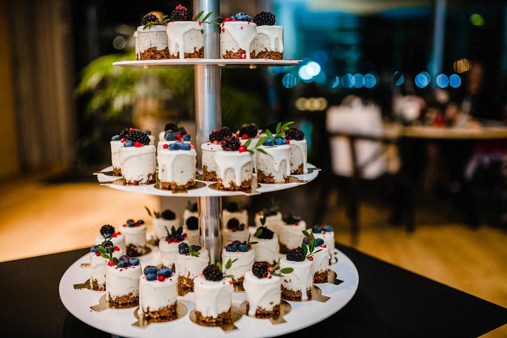 Three Layer Wedding Cake Little Bites Wth Blackberries